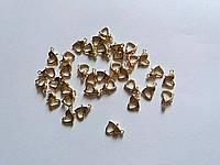 Карабин сердечко 1 см под золото