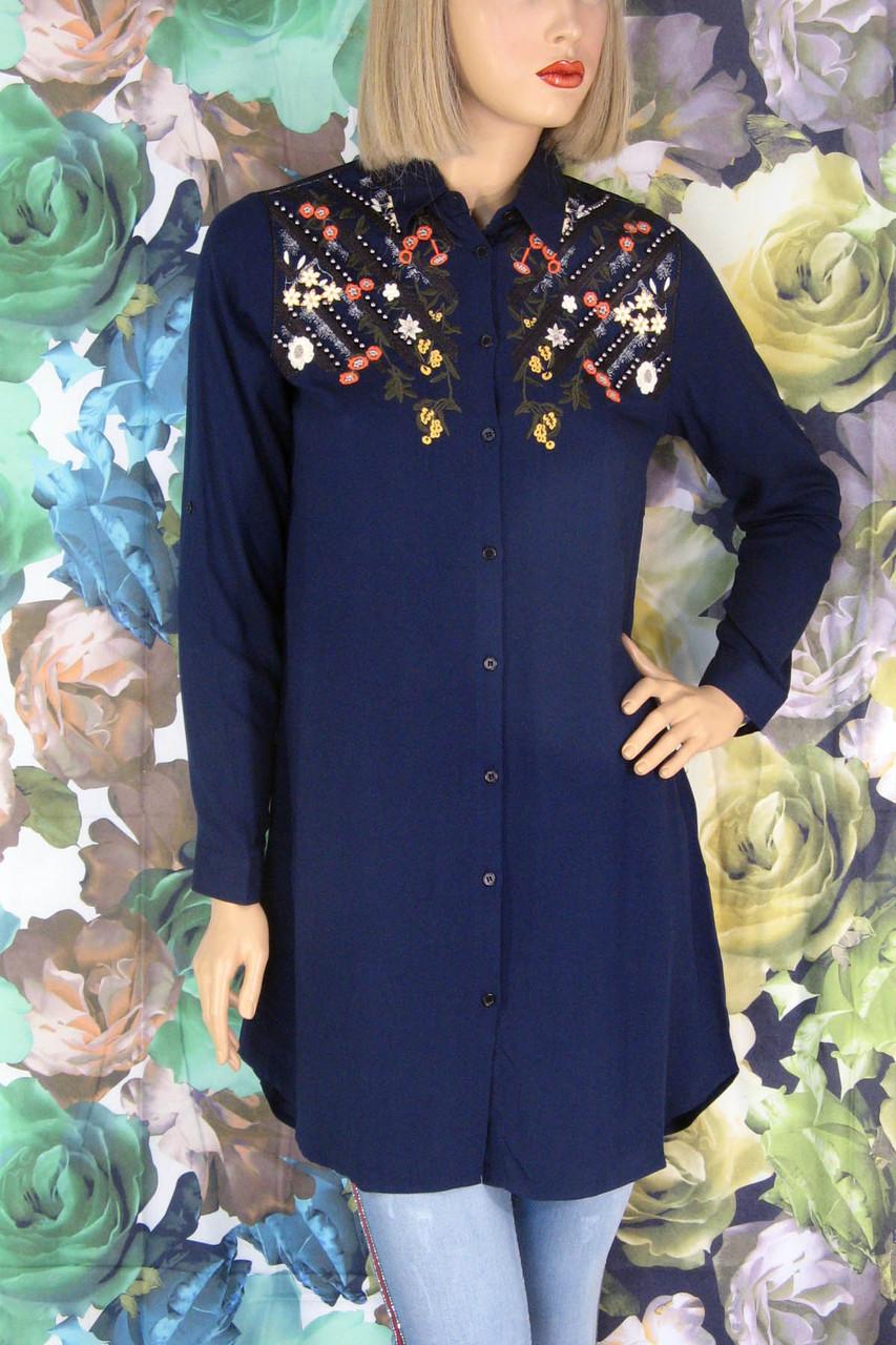 Жіноча темно синя сорочка туніка з  вишивкою Saloon