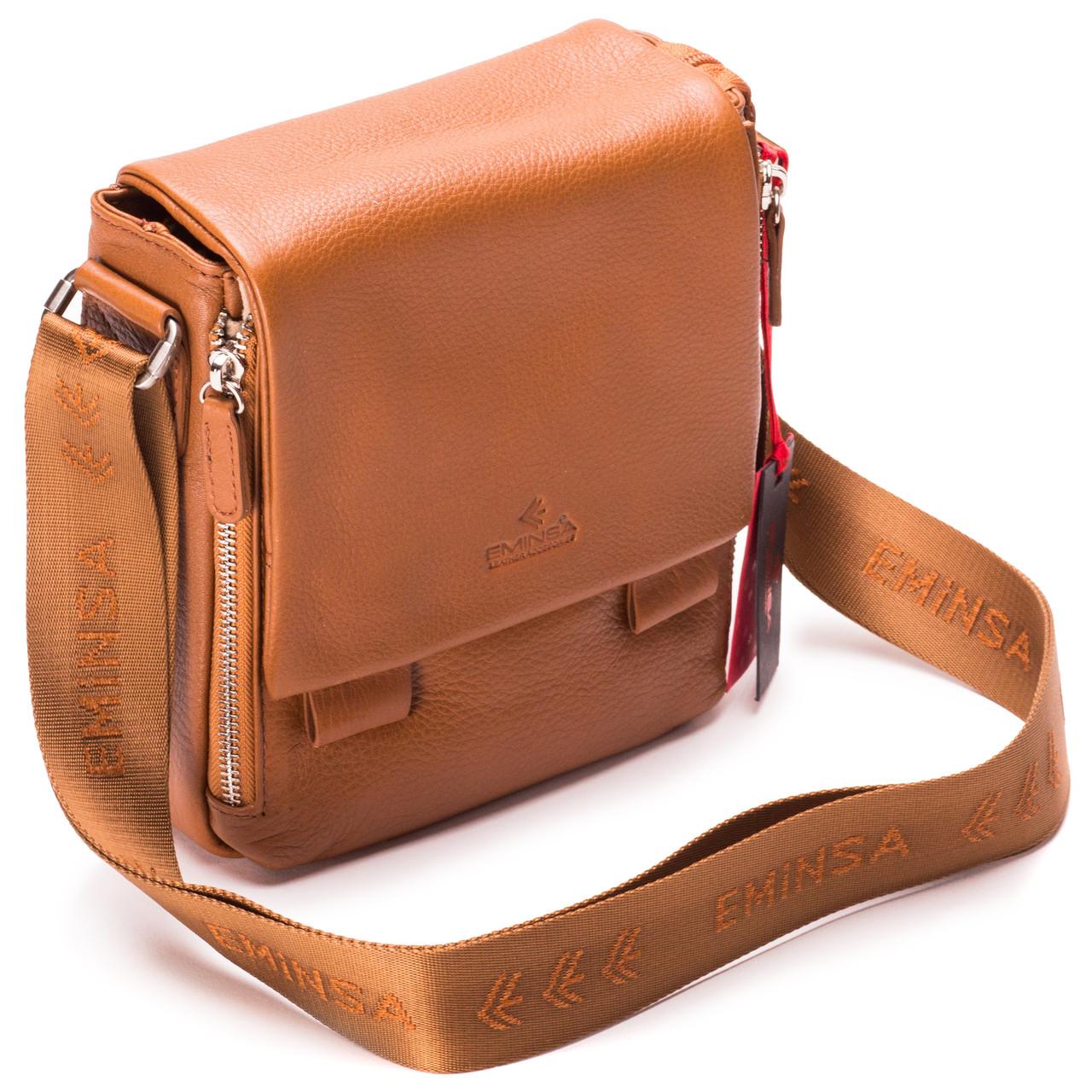 Мужская сумка кожаная коричневая Eminsa 6069-12-2