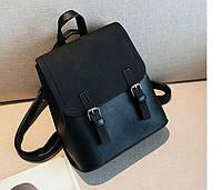 Рюкзак сумка (трансформер) городской женский с двумя пряжками (черный), фото 1