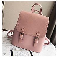 Рюкзак сумка (трансформер) городской женский с двумя пряжками (розовый), фото 1