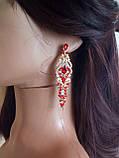 """Подовжені вечірні сережки-гвоздики """"під золото"""" з червоними камінцями, висота 8 см., фото 2"""