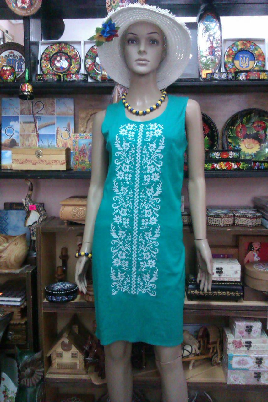 Плаття-сарафан з білою вишивкою