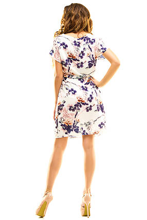 Платье 413 с кулиской кремовое с синим, фото 2