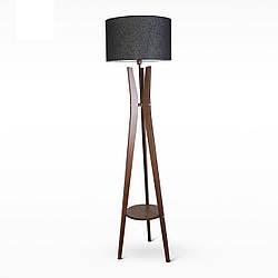 Деревянный торшер со столиком и с тканевым абажуром 9430