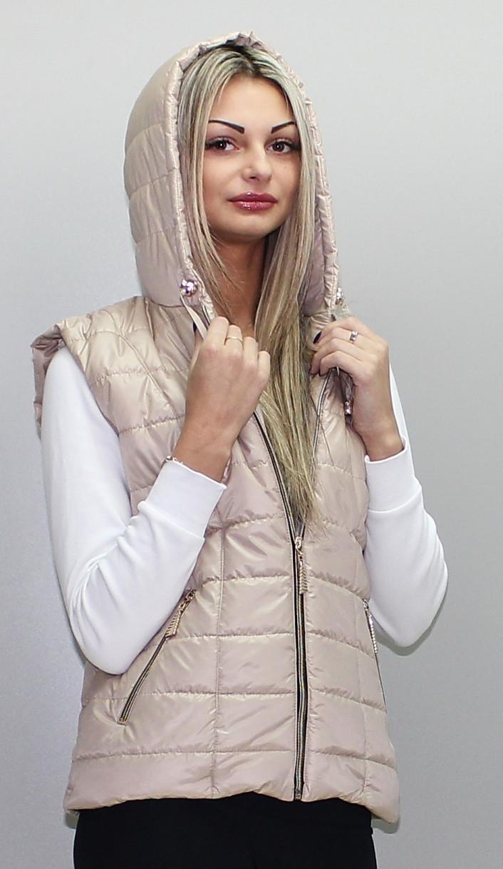 Стёганая жилетка с капюшоном, размеры 42-74