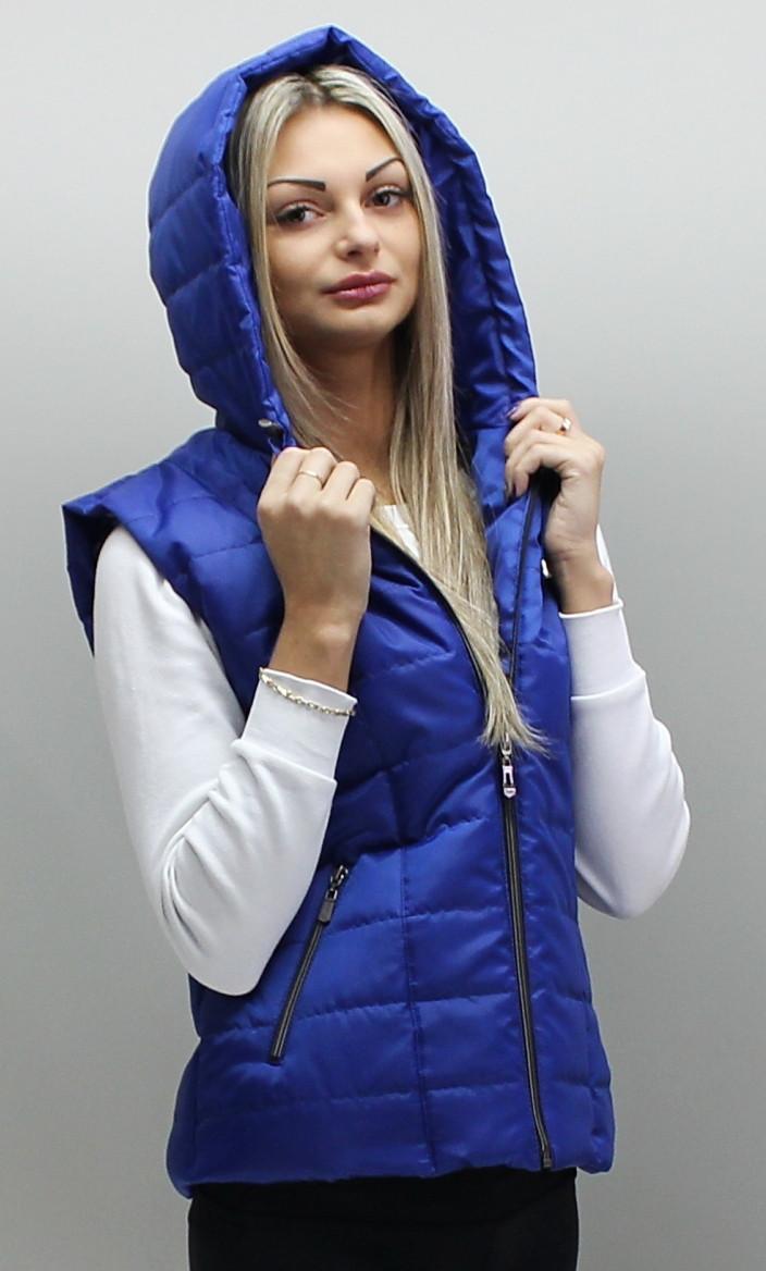 Стёганая женская жилетка с капюшоном, размеры 42-74