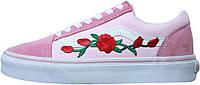 "Женские кеды Vans Old Skool Pink ""Roses"" (Ванс Олд Скул) розовые с розами"