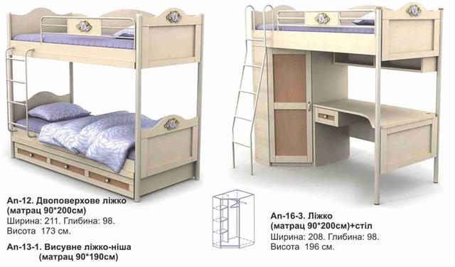 Кровать детская двухъярусная Angel (ассортимент)