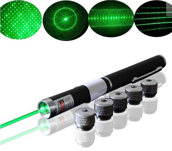 Зеленая лазерная указка 100 мВт с 5 насадками, green laser pointer 5 in 1