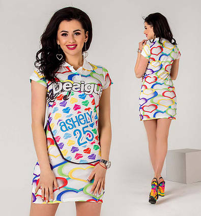 """Летнее женское стильное короткое платье 3264 """"DESIGUAL"""""""