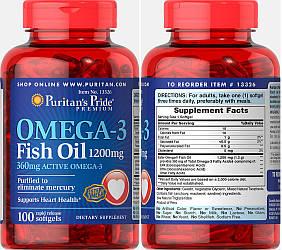 Puritan's Pride, Рыбий жир, Омега-3, 1200 мг, 100 капсул