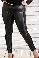 Черные брюки с эко-кожей opt-b38-1