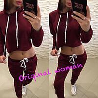 Трикотажный спортивный женский костюм с укороченной кофтой 205303