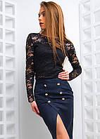Комплект из юбки с запахом и гипюровым топом