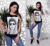 Прямая женская футболка с рисунком 551751