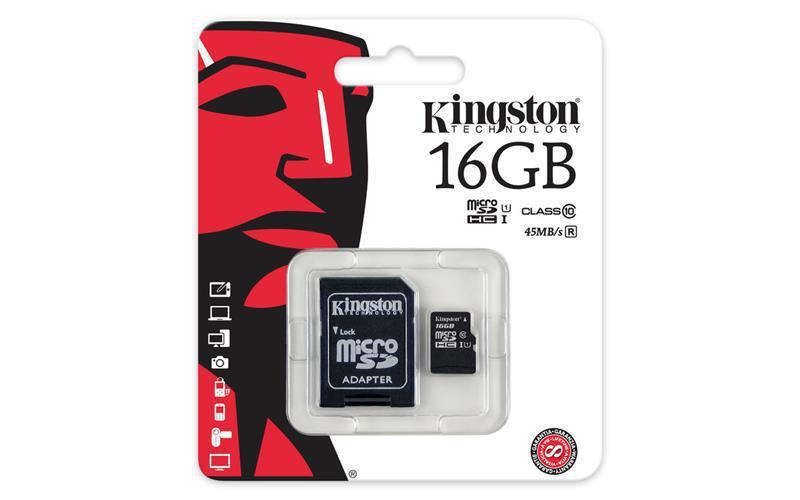 Kingston microSDHC 16GB Class 10 UHS-I R80MB/s (с адаптером) (SDCS/16GB)