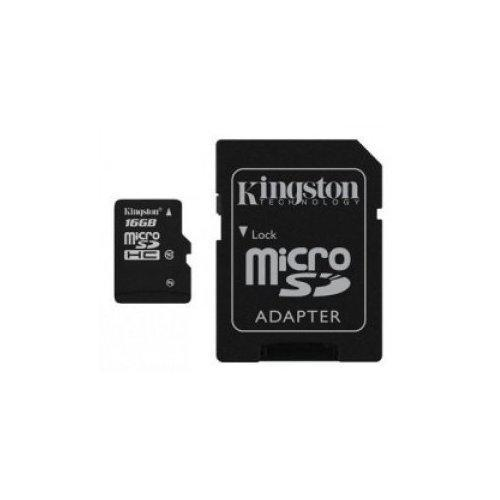 Kingston microSDHC 16GB Class 4 (с адаптером) (SDC4/16GB)