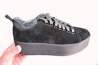 Замшевые женские кеды, код 199, цвет черный