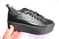 Кожаные женские кеды, код 199, цвет черный