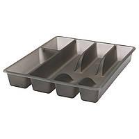 СМЭККЕР Лоток для столовых приборов, серый, 31x26 см 90241788 IKEA, ИКЕА, SMÄCKER