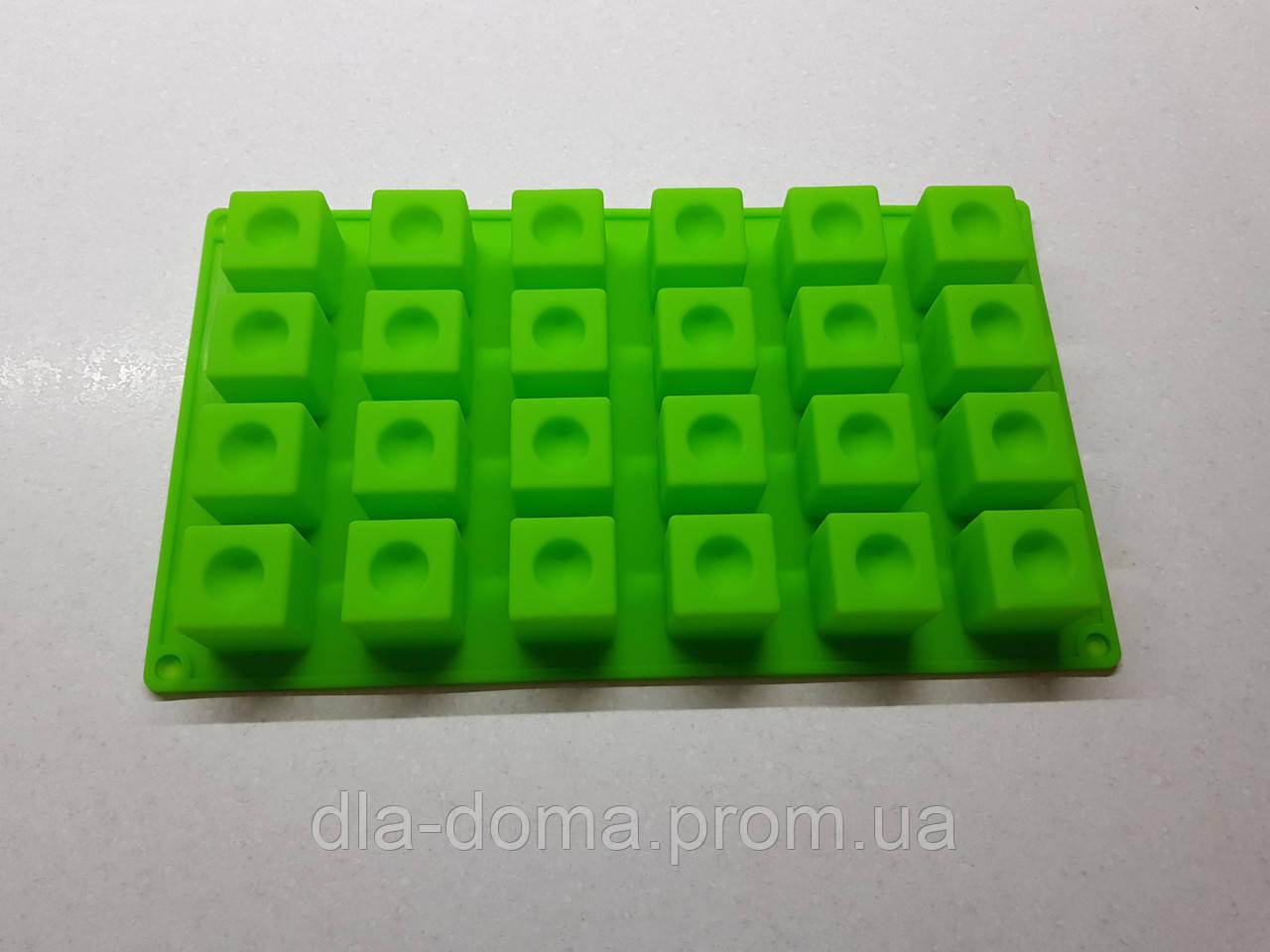 Силиконовая форма куб с выемкой на 24 ячейки