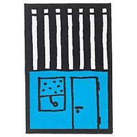 ХЕММАХОС Коврик детский, голубой/черный, 50x75 см 70332355 ИКЕА, IKEA, HEMMAHOS