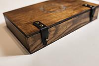 Деревянный футляр для презентации свадебных фотографий с кожаными застежками, фото 1