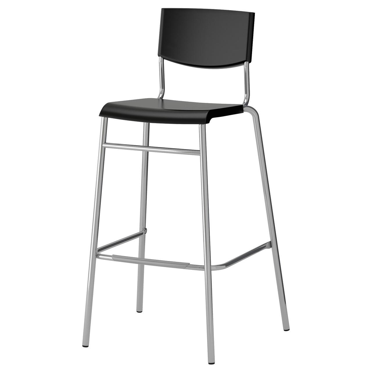 СТИГ Стул барный, черный/цвет алюминия, 74 см 80155205 IKEA, ИКЕА, STIG