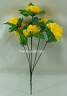 Искусственный куст хризантемы с желтыми цветами