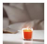 СИНЛИГ Ароматическая свеча в стакане, солнечный мандарин, оранжевый, 9 см 00251550 IKEA, ИКЕА, SINNLIG
