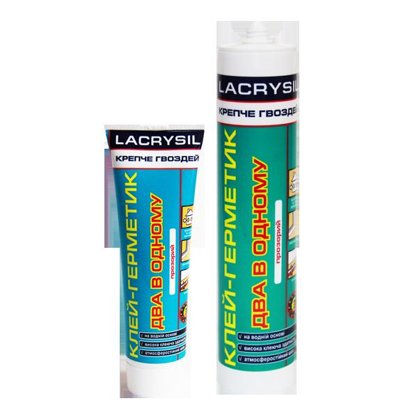 Клей-герметик акриловый 'Крепче гвоздей' два в одном, прозрачный LACRYSIL, 150 гр