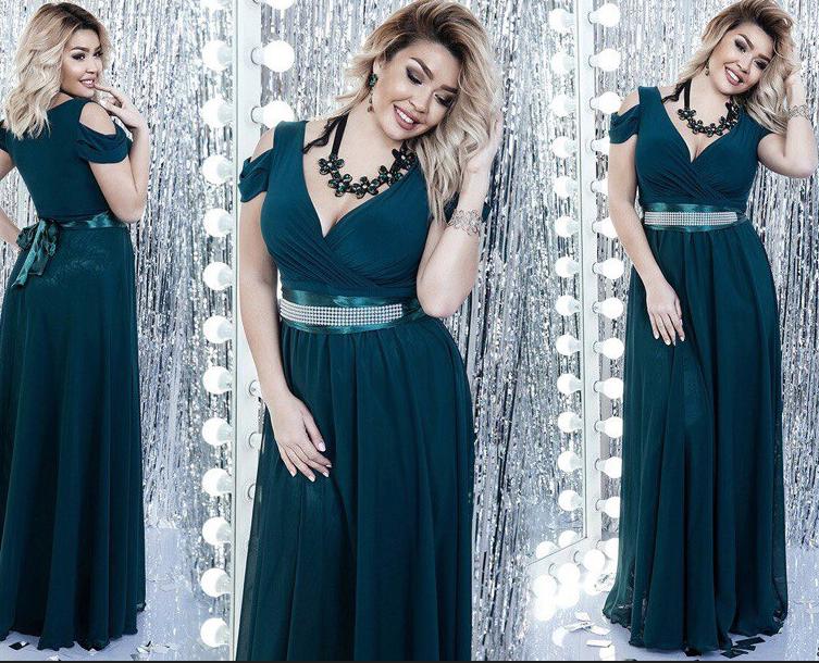 cc1c8c4d2af Батальное длинное вечернее платье с декольте без рукавов. Много цветов! -  Интернет-магазин