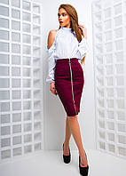 Комплект из блузы и замшевой юбкой