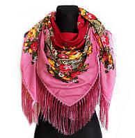 Народный платок Мария, 115х115 см, вишня/розовый