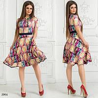 Платье летнее короткий рукав расклешенное дайвинг 42,44,46