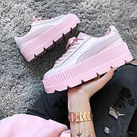 Кроссовки Puma x Fenty Cleated Creeper Platform Pink Leather . Живое фото (Реплика ААА+)