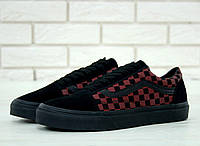 Кеды Vans Old Skool Checkered black bordo. Живое фото (Реплика ААА+) 0748ba18952