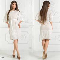 Платье прямое под пояс стрейч-гипюр 42,44,46, фото 1