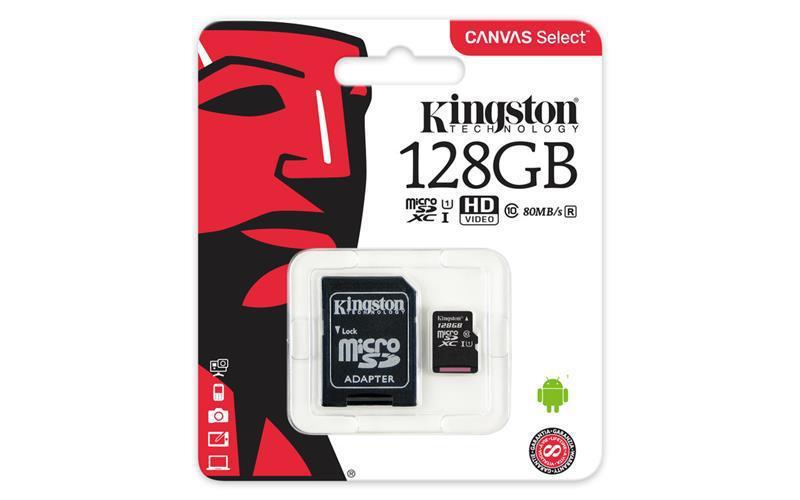 Kingston 128GB microSDXC C10 UHS-I R80MB/s с адаптером (SDCS/128GB)