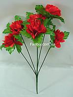 Искусственный куст хризантемы с красными цветами
