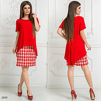 Платье короткий рукав имитация двойки плательный креп+креп-шифон 42,44,46