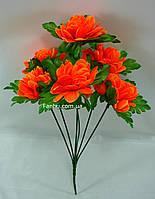 Искусственный куст хризантемы с оранжевыми цветами