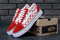 Кеды Vans Old Skool х Supreme Red/white. Живое фото (Реплика ААА+)
