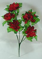 Искусственный куст хризантемы с темно красными цветами