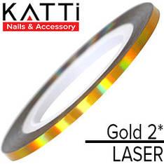 KATTi Лента для декора Laser Золото 2мм мульти-перелив