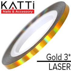 KATTi Лента для декора Laser Золото 3мм мульти-перелив