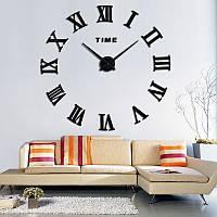 Большие 3-D  часы римские черные