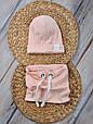 """Набор шапочка со снудом """"Hills"""", персиковый, 42-54 , фото 2"""