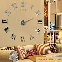 Большие 3-D  часы римские серебренные, зеркальные